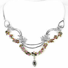 AAA MULTI COLOR FANCY TOURMALINE & WHITE CZ .925 STERLING SILVER NECKLACE 18 IN
