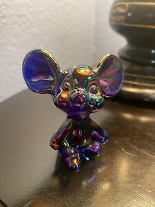 "Antique Iridescent Fenton Glass ""Mouse"" Figurine RARE Original w/ Fenton Sticker"