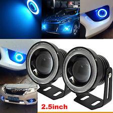 "2x 2.5"" Car COB LED Fog Lights Projector Ice Blue Halo Angel Eyes Ring DRL Bulbs"