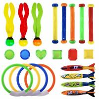 13-22pcs Underwater Diving Toys Ring/Torpedo/Stick Kids Swimming Pool Water Game