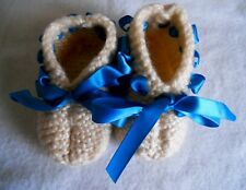 Hand Knitted Baby Bootees 24 Months Size 6 Cream Wool with Blue Ribbon 2 Years
