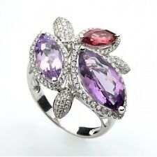 18ct Solid White Gold Cocktail Ring with Diamonds,Amethyst & Tourmaline, Size 8