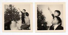 PHOTO ANCIENNE Sapin de Noël Fête Décoration de Noël 1959 Tirage d'époque Doigts
