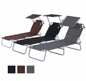 Reclining Sun Lounger Chair Folding Recliner Garden Adjustable Patio W/ Sunshade
