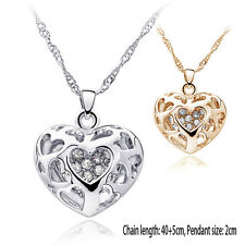 New Silver/Gold Plated Rhinestone Pierced Heart Necklace Pendant Charm Jewelry