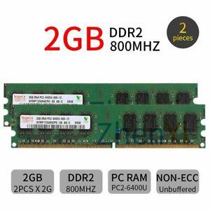 4GB 2x 2GB 800MHz PC2-6400U DDR2 CL6 240Pin DIMM Desktop Memory SDRAM Hynix BT