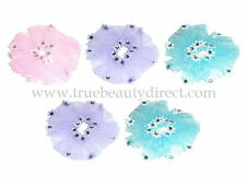 5 x HAIRBANDS WITH SHEER ORGANZA FABRIC & FLOWERS WITH GEMS PINK BLUE & PURPLE