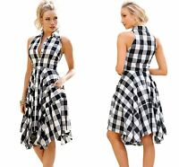 Black White Grey Denim Checks Flared Shirt dress sleeveless knee length 8 10 12