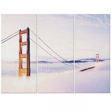 Golden Gate Bridge Triptych Canvas Picture - 3 Panel Split Artwork H90 x W120cm