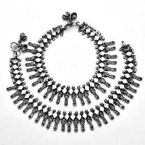 Indian Ethnic Anklet Pair Payal Silver Antique Oxidised Traditional Jewellery