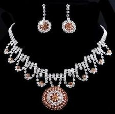 Light Brown & Clear Crystal Round Pendant & Earring Set Silver Plated