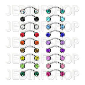 Curved Barbell Banana Bar | 1.2mm (16g) - 6mm-20mm | Double Gem - Front Facing