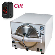 18L Dental Autoclave Steam Sterilizer 3 tray Dental Sterilizition+Pulse oximeter