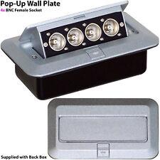 PRO Pop-Up Wall/Floor Plate & Back Box -4x (Quad) BNC Sockets- CCTV Camera & DVR