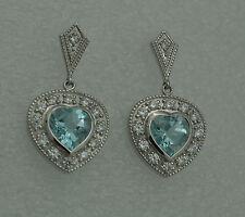 blu topazio Zirconia Orecchini chiusura a farfalla argento 925 antico stile