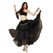 8 Colors Chiffon Dancing Costume Belly Dance Spiral Long 3 Layers Skirt Top Belt