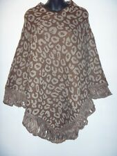 Poncho Sweater Fits S M L XL 1X 2X Plus Brown Gray Leopard Print Knit Fringe NWT