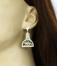 Gorgeous 18k Two Tone Gold 1.50ctw Diamond & Enamel Panther Drop Dangle Earrings