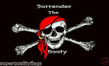 NEW 3x5 ft SURRENDER THE BOOTY PIRATE FLAG WITH BRASS GROMMETS