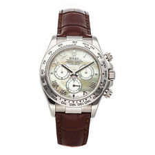 Rolex Daytona Auto 40mm White Gold MOP Mens Strap Watch Chrono 116519