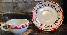 DEPT 56 AMERICAN ROOSTER CUP & SAUCER SET RISE AND SHINE