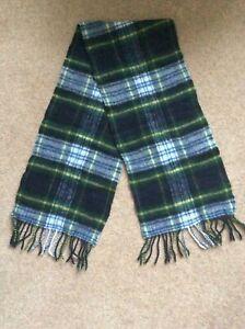 Mens wool  blue green tartan check pattern scarf
