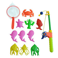 Magnetic Fishing Toy Rod Model Net 10 Fish Kid Baby Bath Time Fun Game E6M4