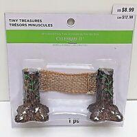 """Tiny Treasures Holiday TREE FENCE 2"""" Tall Village Accessory Polyresin & Burlap"""