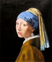 Jan Vermeer Girl with a Pearl Earring Repro, Hand Painted Oil Painting 20x24in