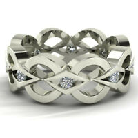 Fashion Women Man 925 Silver Infinity Band Ring White Topaz Wedding Jewelry Gift