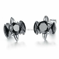 2pcs Stainless Steel Tribal Flame Claw Black Round CZ Men's Stud Earrings