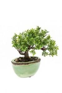 artplants Künstlicher Bonsai Ficus ORIANA, Keramiktopf, 20cm - Kunst Baum