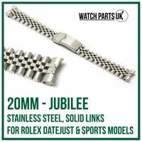 ♛ 20mm Jubilee Stainless Steel Bracelet Watch Strap For ROLEX DateJust Models ♛