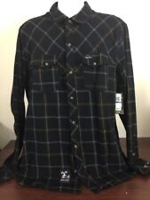 Lng Wovens Mens Plaid Flannel Button Down Size XL NWT