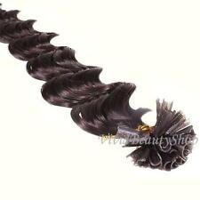 25 U Nail Pre Tip Fusion Deep Wave Curly Remy Human Hair Extension Dark Brown #2