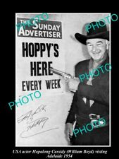 OLD POSTCARD SIZE PHOTO HOPALONG CASSIDY 1954 VISIT TO ADELAIDE, SOUTH AUST