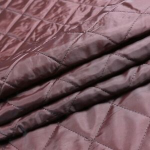 Quilted lining fabric - Brown colour - Diamond design - Wadding backing