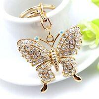 Charming Women Rhinestone Butterfly Jewelry Keychain Women Key Holder Keyring