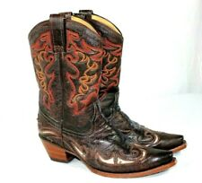 Corral Boots Womens Sz 9 M Brown Leather Inlay Short Cowboy Boots Style 4722