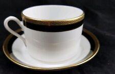 Richard Ginori Italian China Fine Porcelain Palermo Black And Gold Cup & Saucer