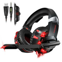 3.5mm Gaming Headset Mic LED Headphone Stereo Surround for PS4 Laptop Tablet PC