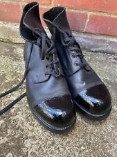 BLACK LEATHER AMMO AMMUNITION DRESS BOOTS - Size: 8 Large British Army Issue