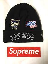 Supreme New Era Championship Beanie Cap Hat Cappello Berretto BLACK NERO FW2019