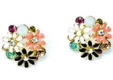 New Gold Tone Crystal Cubic Zirconia Diamante Floral Earrings Ear Stud Design UK