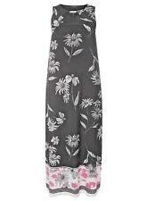 Evans Black White Pink Floral Border  Maxi Long Dress 14  Holidays !