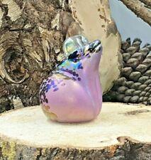 Neo Art Glass handmade iridescent pink frog sculpture paperweight by K.Heaton