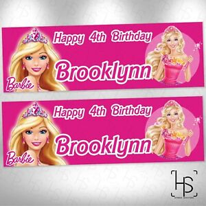 Princess Barbie Doll animated Netflix TV Show Personalised Birthday Party Banner