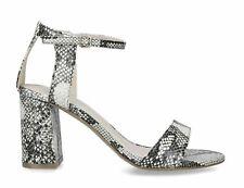 Carvela Kurt Geiger Beige Grey Snake Block Heel Strap Evening Shoes Sandals sz 7