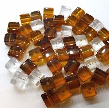 50 pieces 6mm Crystal Glass Square / Cube Beads - BROWN MIX - A3069