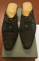 Cole Haan Morgan D18352 Chocolate Suede Turquoise Western Mule Boots Size 8B